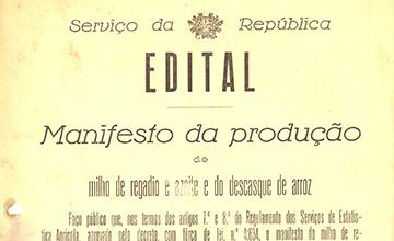 Manifesto da produção de milho de regadio e azeite e do descasque de arroz