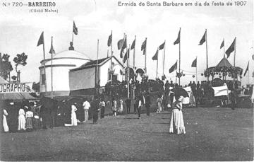 Bilhete postal ilustrado com a igreja de Santa Bárbara