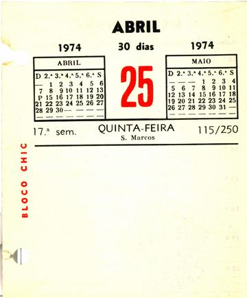 Folha de Memorando original em papel - Dia 25 de Abril de 1974