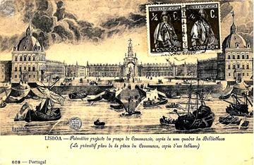 Postal de Lisboa entre 1777 e 1875 | Primitivo projecto da praça do Commercio, copia de um quadro da Bibliotheca
